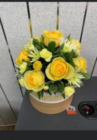Yellow and cream hat box
