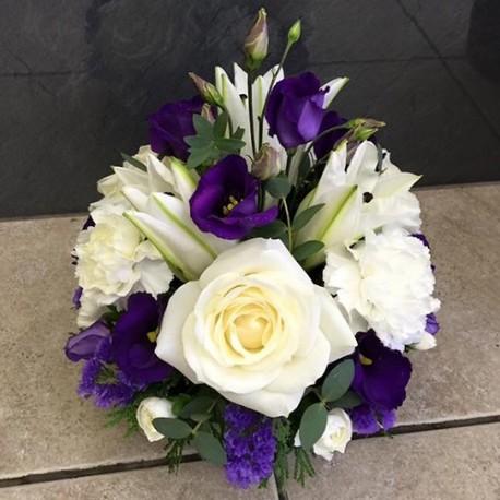 Purple & White Saucer Posy