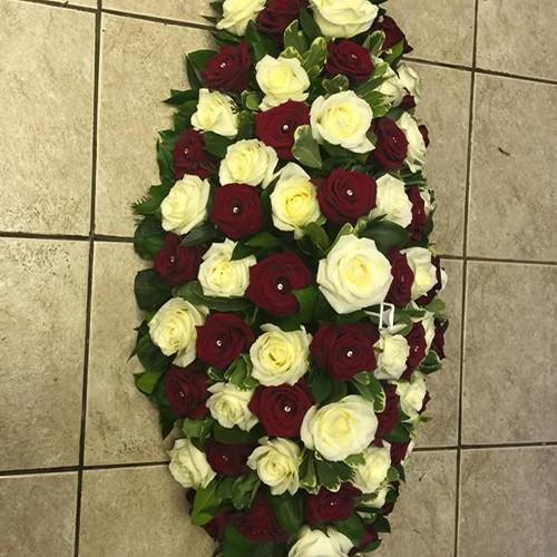 Red & White Rose Coffin Spray