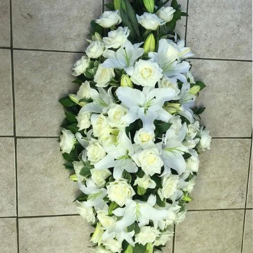 White Lily & Rose Coffin Spray